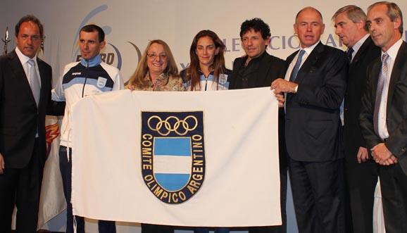 La despedida de la delegación argentina